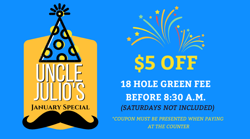 $5 OFF 18 Holes all Month before 8:30 a.m.